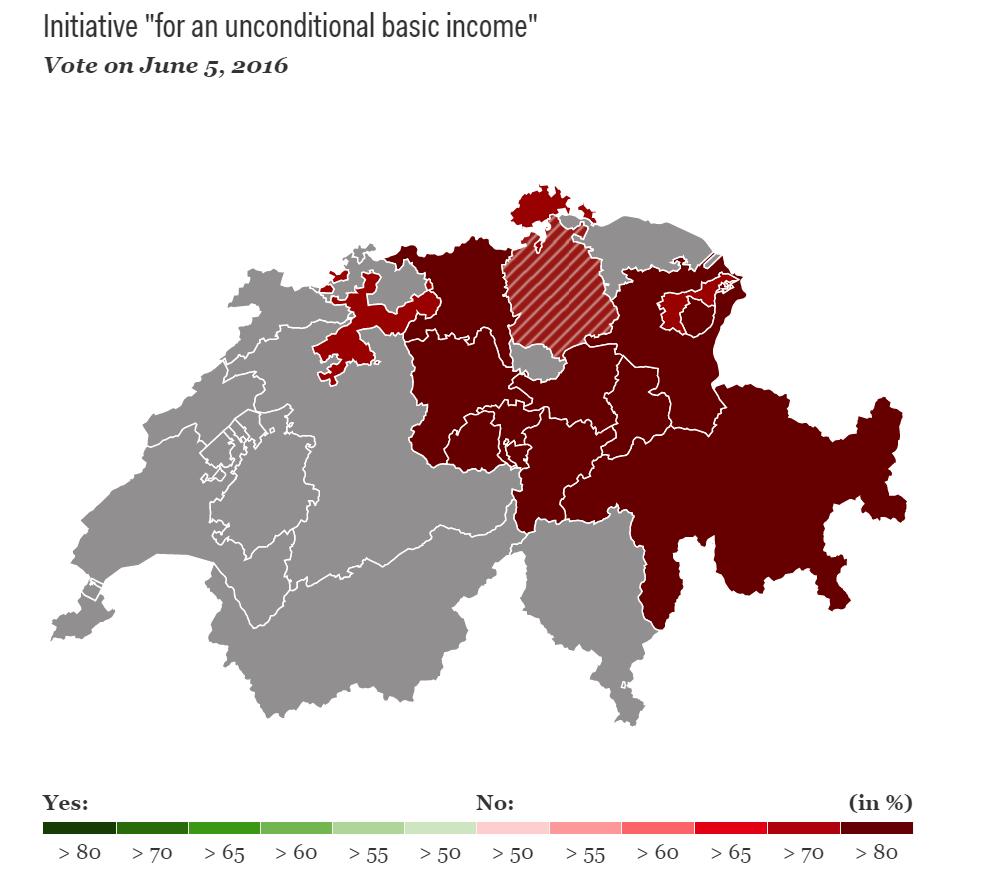 Mapa Szwajcarii z częściowymi wynikami referendum na temat dochodu gwarantowango