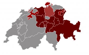Mapa Szwajcarii z wynikami referendum na temat dochodu gwarantowango