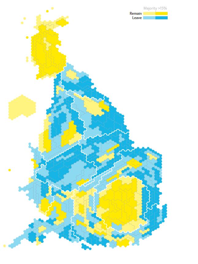 Schematyczna mapa UK z zaznaczeniem okręgów głosujących za Brexitem (niebieski) oraz przeciw (żółty)